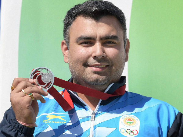 File picture of Gagan Narang celebrating his 50m Rifle Prone silver medal win at Glasgow Commonwealth Games last year