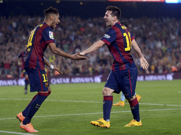 File photo of Neymar (left) and Messi (right) of Barcelona