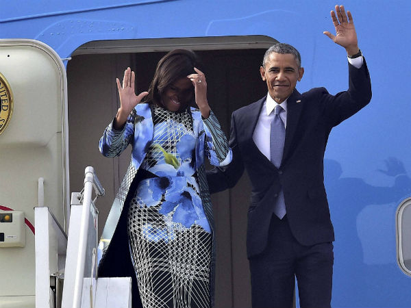 US First lady Michelle Obama arrives in Indian designer Bibhu Mohapatra's creation.