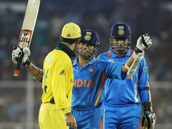 Ponting (left) and Sachin (centre) during 2011 World Cup. Also seen is Sehwag