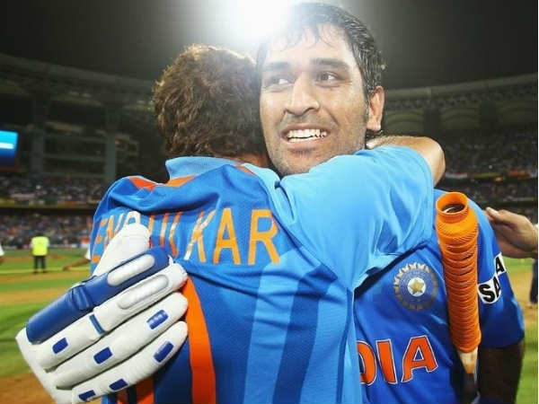 File photo: Dhoni (right) hugs Tendulkar after winning the World Cup in 2011