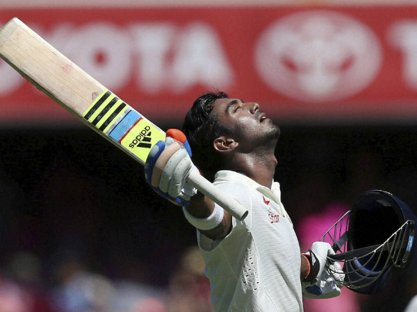 Rahul celebrates his maiden Test ton