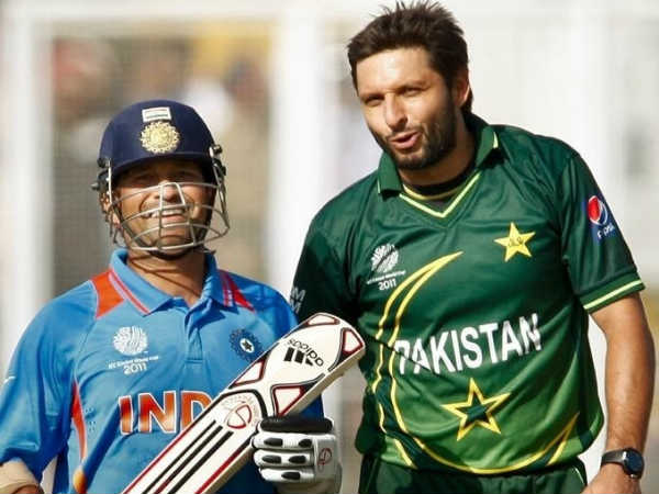 Tendulkar and Shahid Afridi (right) during 2011 WC semi-final