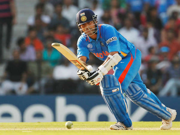 Tendulkar in action during a WC match