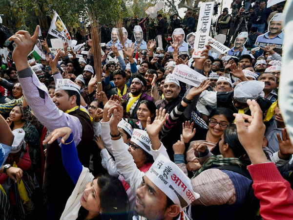 AAP celebrates victory in Delhi
