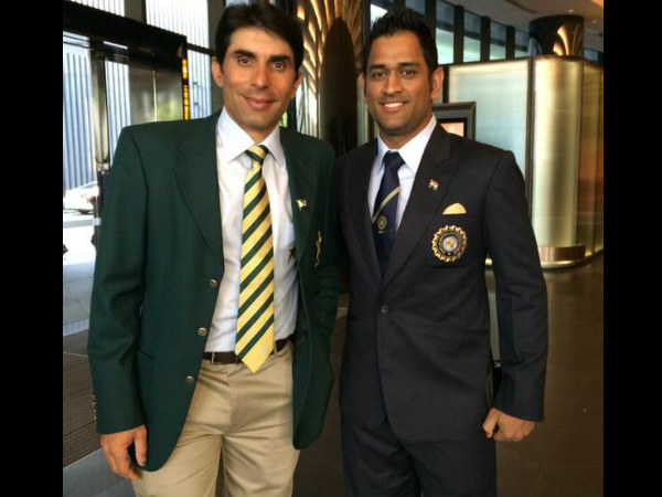 Captains Misbah and Dhoni at the opening ceremony in Melbourne. Photo: ICC Twitter account