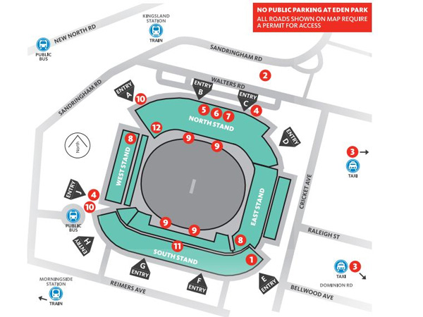 Eden Park venue map