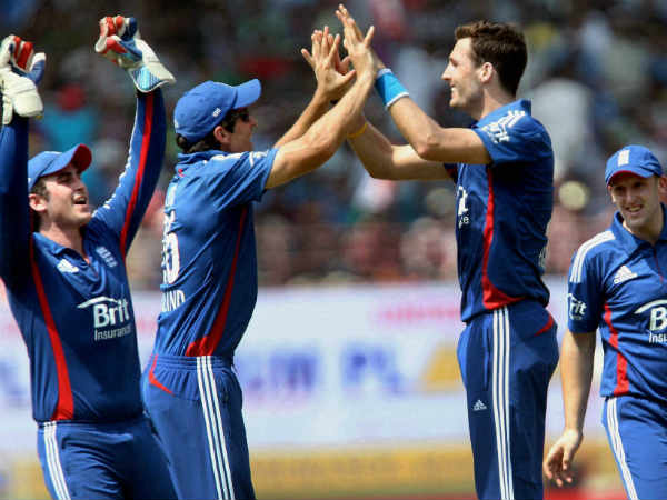 File photo: Steven Finn (second right) took a hat-trick