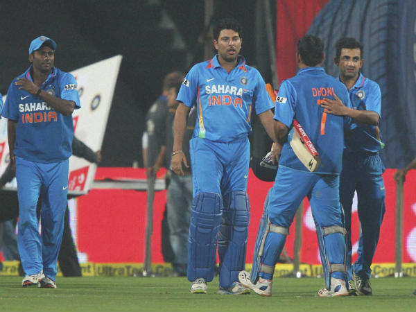 File photo: Yuvraj (second left), Dhoni (second right) during a ODI