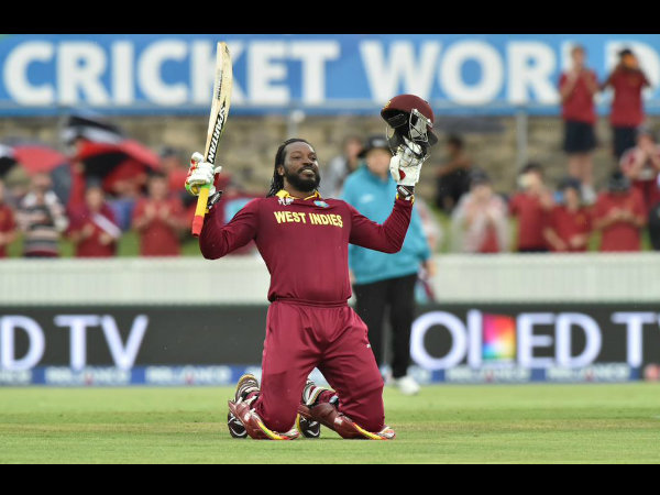 Gayle celebrates his record double ton. Picture: ICC