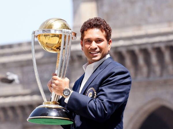 File photo of Sachin with 2011 World Cup trophy