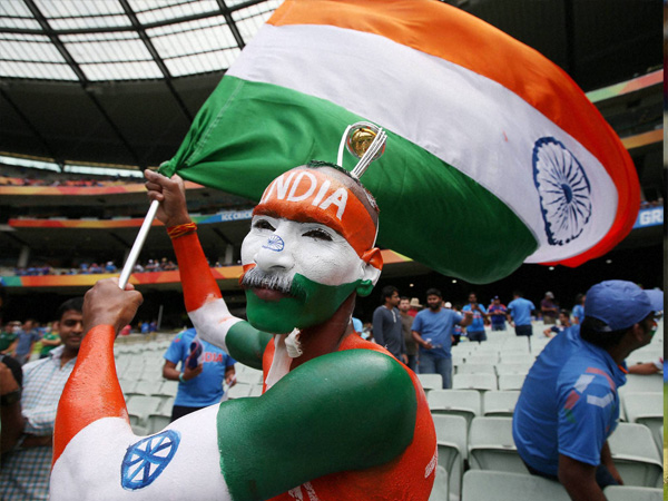 Indian fan waves the Tri-colour at MCG