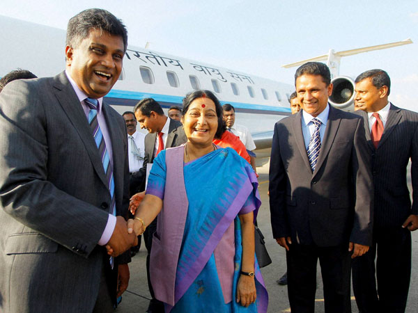 Sushma arrives in Colombo, meets Prez