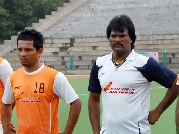 File photo of Dhanraj Pillay (right)