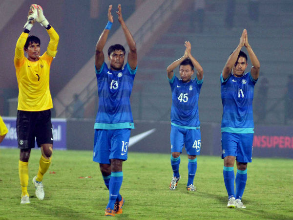 India captain Subrata Pal (left), vice-captain Sunil Chhetri (right) and teammates acknowledge the crowd after defeating Nepal in the qualifier match for FIFA World Cup 2018 at Indira Gandhi Athletic Stadium, Sarusajai in Guwahati on Thursday (March 12) in first leg.