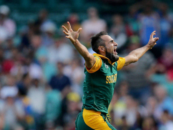 Man of the match Imran Tahir celebrates after taking a wicket against Sri Lanka in the quarter-final of World Cup 2015