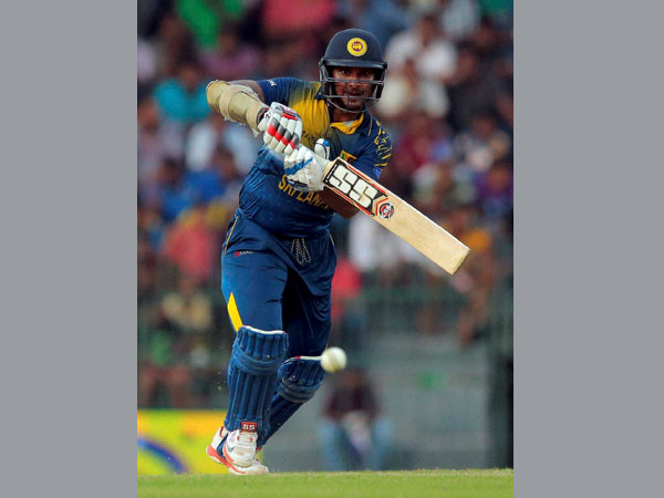 Sangakkara plays a shot during his final ODI innings