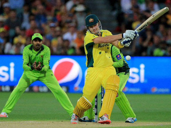 Shane Watson plays a shot while batting against Pakistan in the quarter-final match