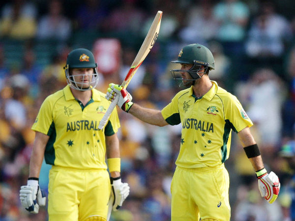 Glenn Maxwell (right) celebrates his half-century at World Cup 2015