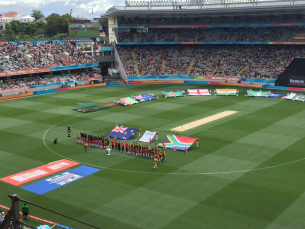 Players get ready for national anthems