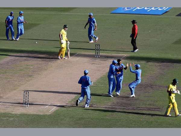 Indian players celebrate during the semi-final of World Cup 2015