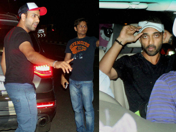 Rohit (left) and Rahane (right) are pictured at the Mumbai airport on Friday night