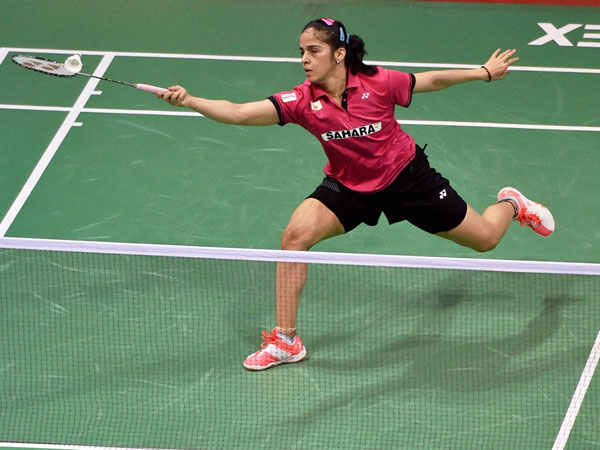 Saina Nehwal in action against Ramadhini Hana of Indonesia during the quarter-final match at India Open in New Delhi, yesterday