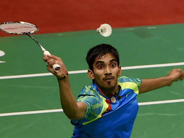 Indian shuttler K Srikanth plays a shot against Denmark's Viktor Axelsen during the final match of Yonex Sunrise India Open 2015