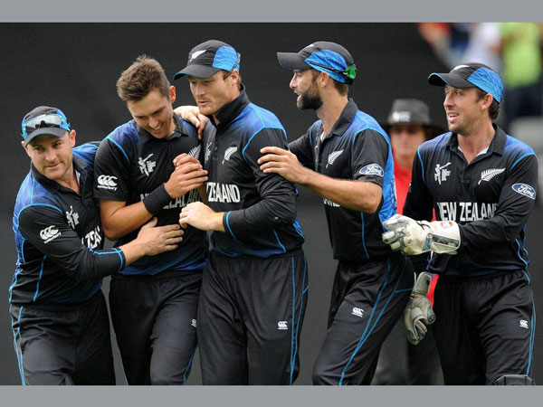 New Zealand players celebrate during World Cup 2015