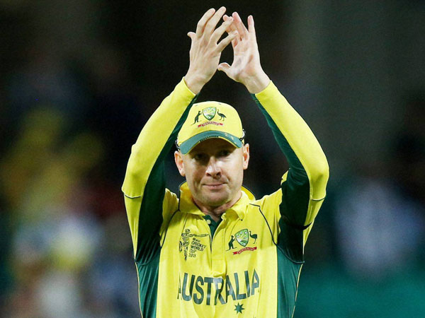 Clarke reacts to the crowd after winning the World Cup semi-final