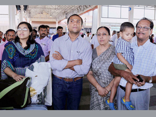 Jacob Korah of Kanjirappally with his famly at the Kochi International Airport after returning from Yemen