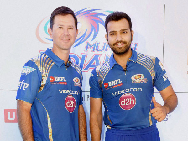 Mumbai Indians chief coach Ricky Ponting (left) and captain Rohit Sharma (right) during a press conference in Mumbai