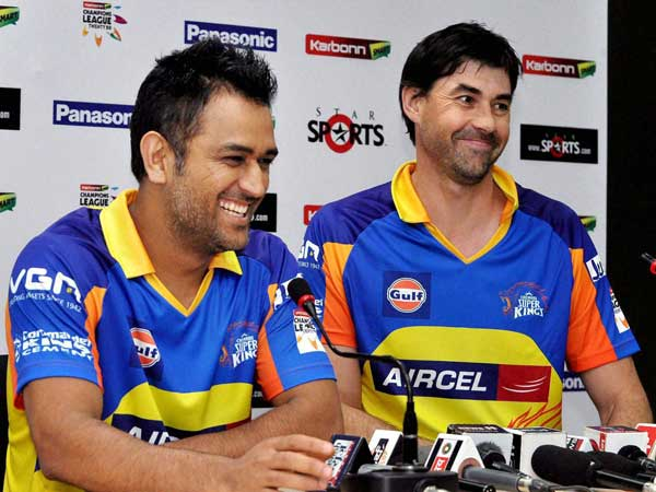 CSK's captain Dhoni (left) and coach Fleming