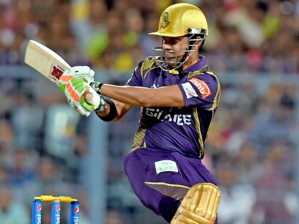Gambhir plays a shot on way to his 57