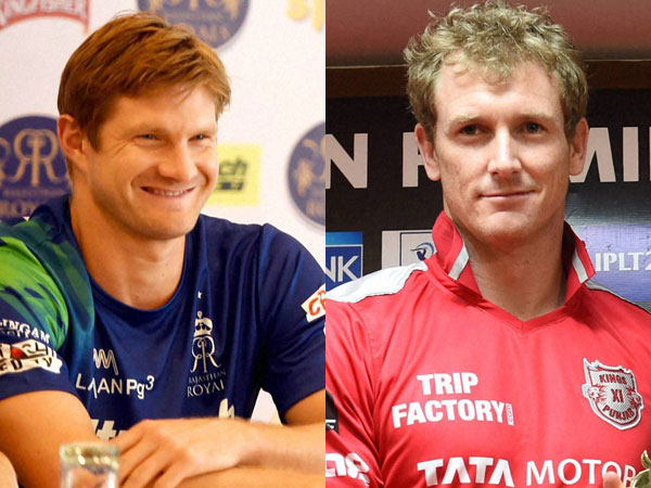Photo of RR's captain Shane Watson (left) and Kings XI Punjab captain George Bailey (right)