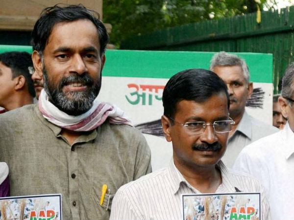 Yogendra adav with Kejriwal