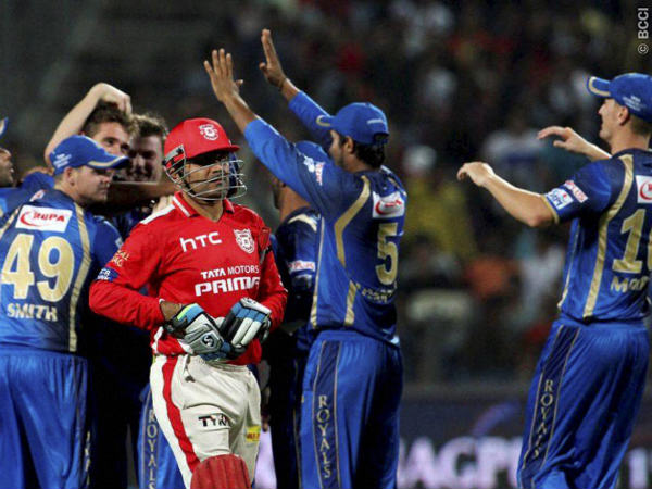 Kings XI Punjab player Virender Sehwag walks back to the pavilion during the IPL 2015 aganist Rajasthan Royals in Pune