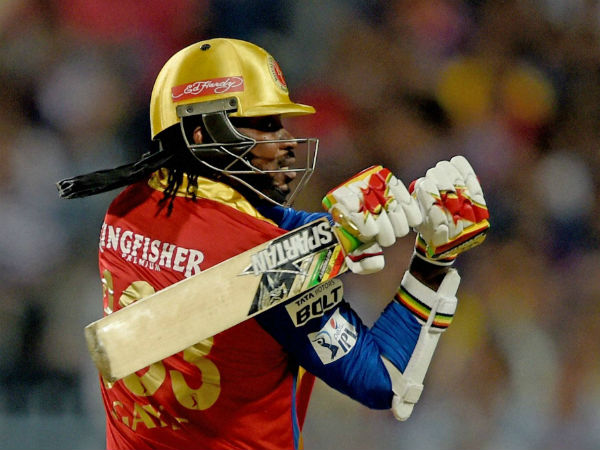 Gayle plays a shot against KKR