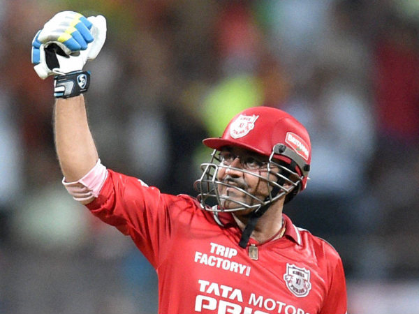 File picture of Virender Sehwag of the Kings XI Punjab celebrate his century during an IPL 7 match