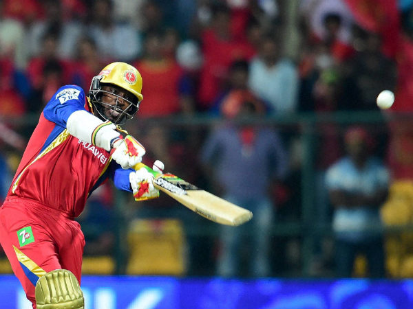 Royal Challengers Chris Gayle plays a shot during IPL 8 match against Sunrisers Hyderabad