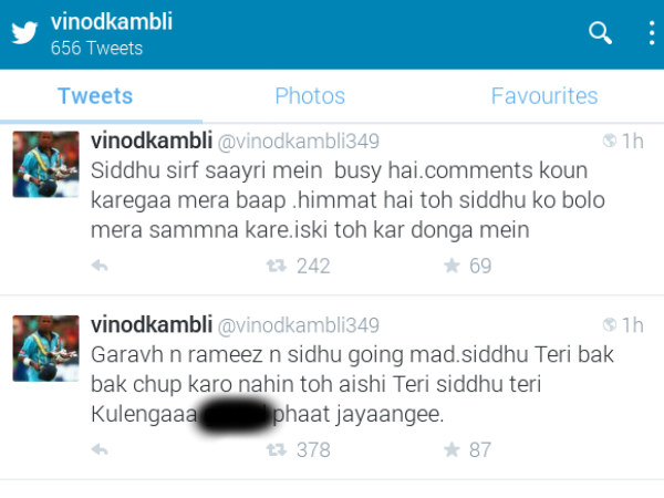 Screeshot of Kambli's abusive Tweets, which have been deleted now