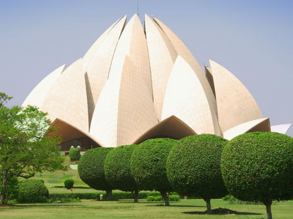 Pollution turning Lotus Temple yellow