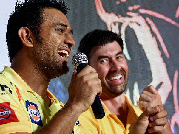 File photo: Fleming (right) with Dhoni
