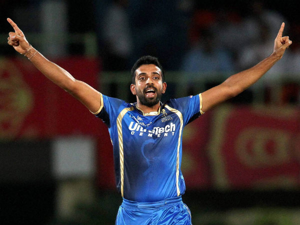 Dhawal Kulkarni of Rajasthan Royals celebrates after getting a wicket during IPL 2015