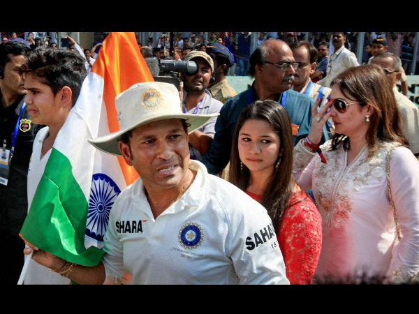 Sachin Tendulkar with his wife and children after his 200th and final Test in November 2013