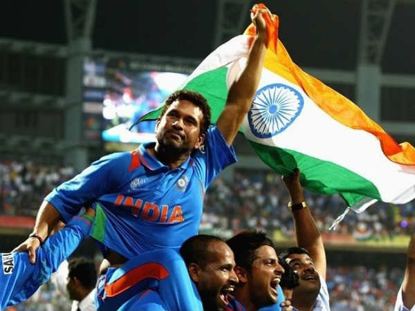 Tendulkar carried around the Wankhede Stadium by his teammates after winning the 2011 World Cup