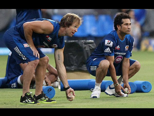 File photo: Rhodes (left) with Sachin Tendulkar during a fielding session with MI team