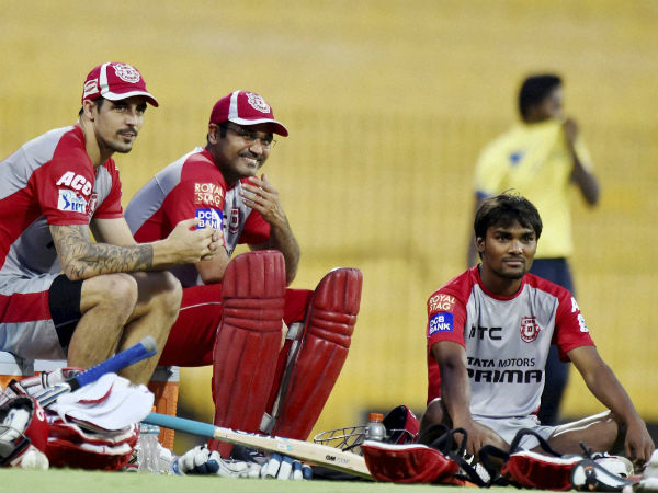 KXIP's Johnson, Sehwag and Sandeep during a training session. All 3 players need to deliver