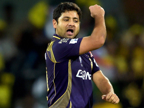 Piyush Chawla celebrates after dismissing Brendon McCullum