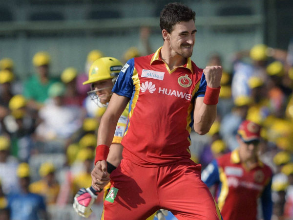 Mitchell Starc exults after dismissing Dwayne Smith